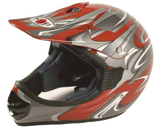 Moto přilba  - helma ,,KOJI - CROSS,, červená