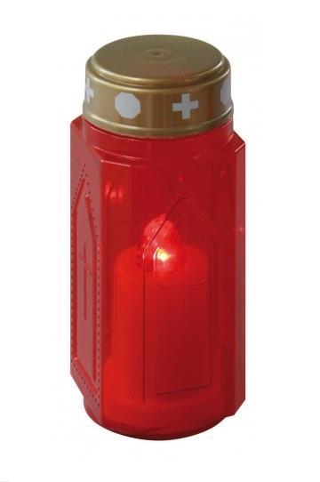 LED svíčka hřbitovní vysoká (červený plamen)