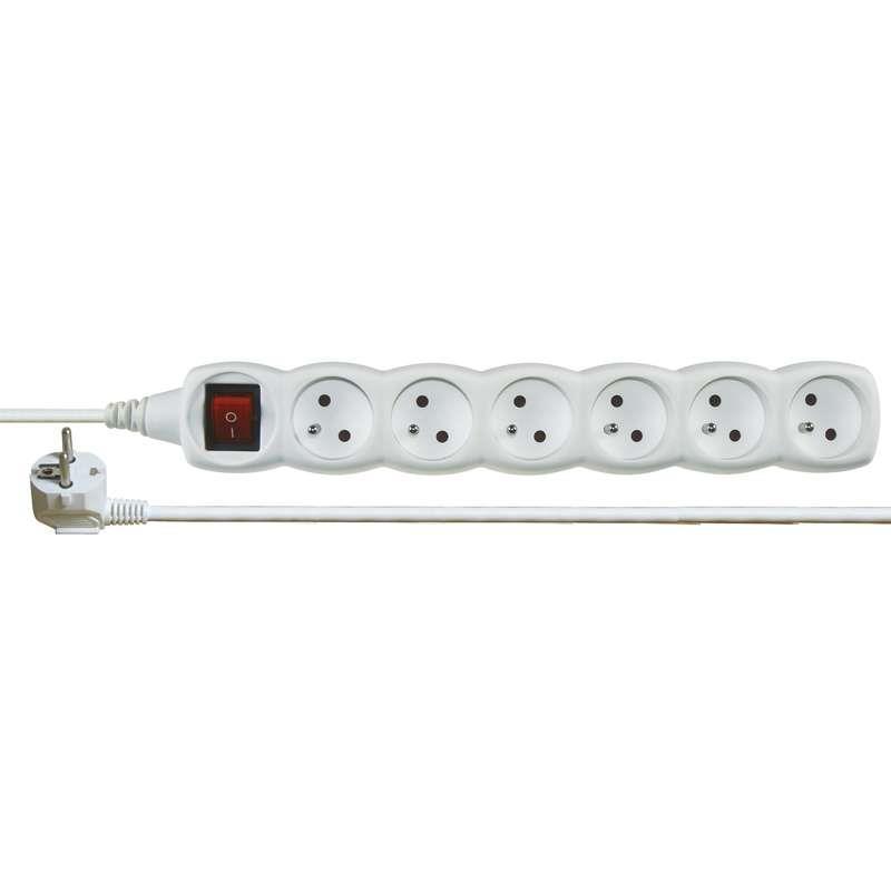 Kabel prodlužovací 2m - 6 zásuvek s vypínačem bílý