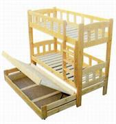 patrová postel z masivu, palanda pro 3 osoby Gigant chalup