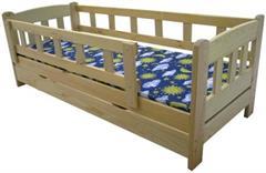 Dětská dřevěná postel se zábranou a úložným prostorem Bingo