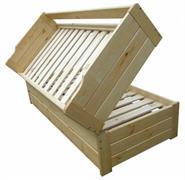 dřevěná rozkládací dvojí postel z masivu Geniusz chalup