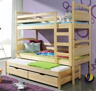 dřevěná patrová trojí postel z masivního dřeva borovice Fido meblano