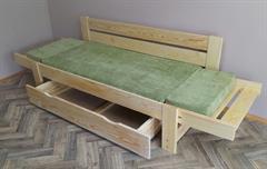 dřevěná moderní pohovka rozkládací, včetně matrace Salvador chalup