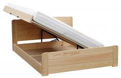 dřevěná dvojlůžková manželská postel s úložným prostorem Wersal chalup