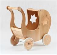 dětská dřevěná hračka dřevěný kočárek pro panenky s hvězdičkou elm