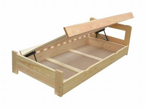 dřevěná dvojlůžková postel s úložným prostorem Rocket chalup