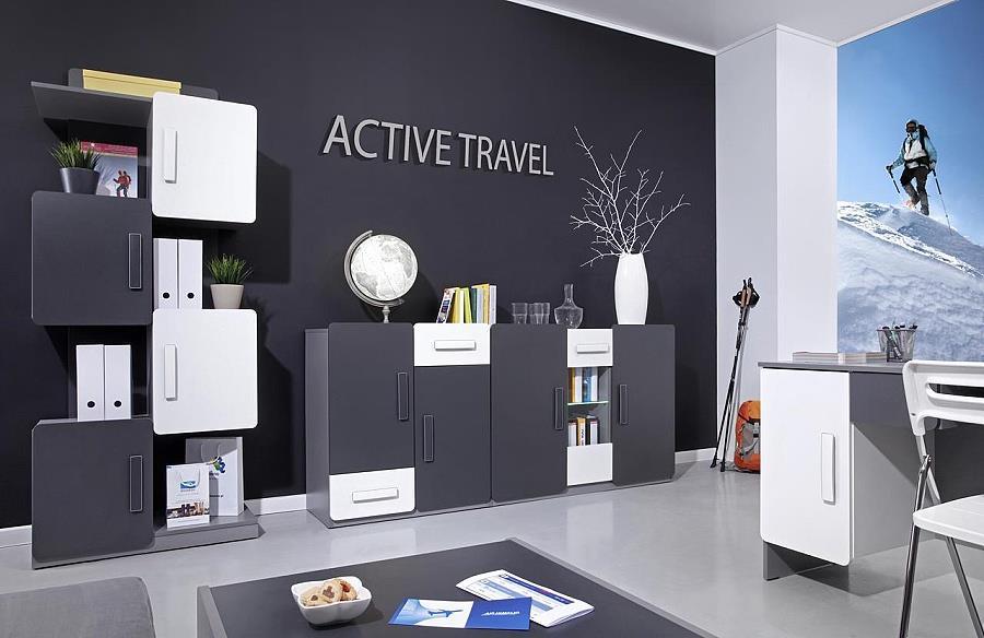 moderní obývací stěna, obývací pokoj  z dřevotřísky Lido 5 gib