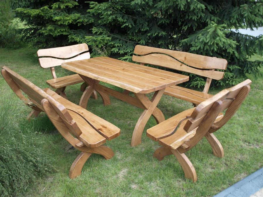 dřevěný dubový zahradní nábytek souprava 1+4 zd.3 devar
