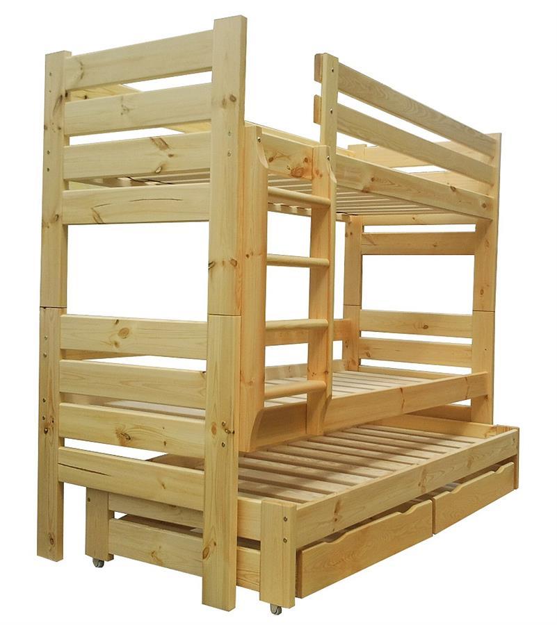 dřevěná patrová postel z masivu, palanda pro 3 osoby Gladiator chalup