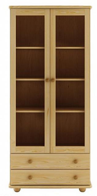 dřevěná prosklená vitrína, knihovna, z masivního dřeva borovice KW115 pacyg