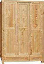 dřevěná moderní šatní skříň z masivního dřeva borovice třídveřová DELSOL01 III drewfilip