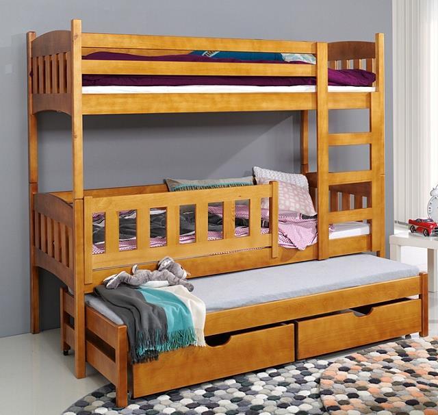 dřevěná patrová trojí postel z masivního dřeva borovice Anka meblano