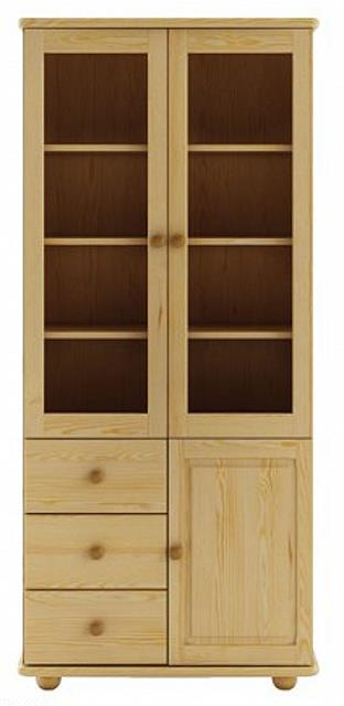 dřevěná prosklená vitrína, knihovna, z masivního dřeva borovice KW116 pacyg