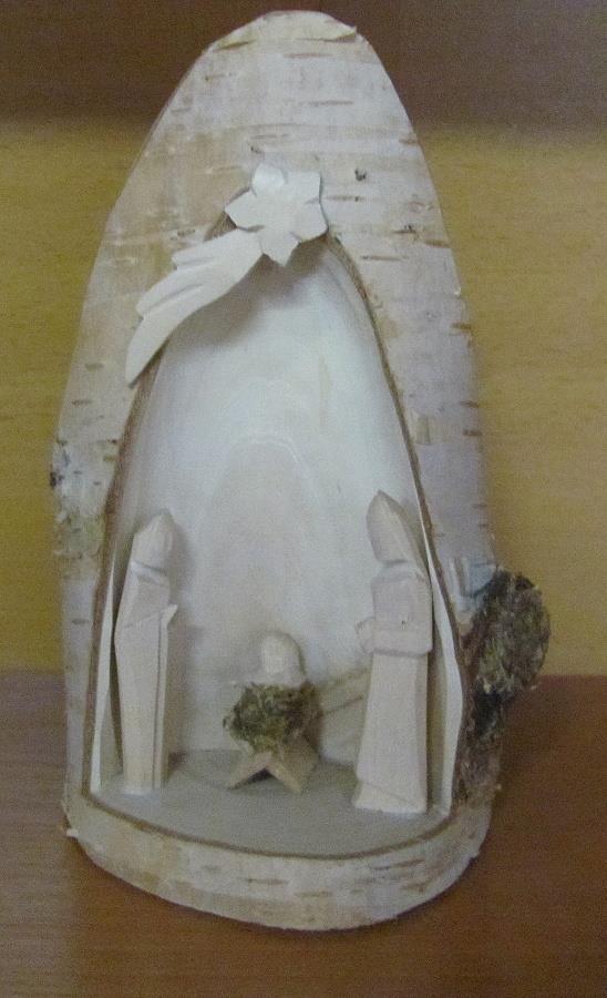 dřevěný vánoční dřevěný betlém mini bříza