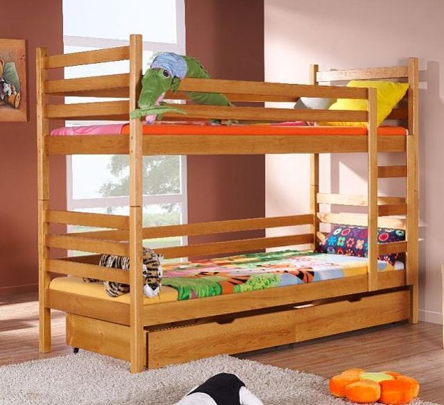dřevěná patrová postel z masivního dřeva borovice Nemo meblano