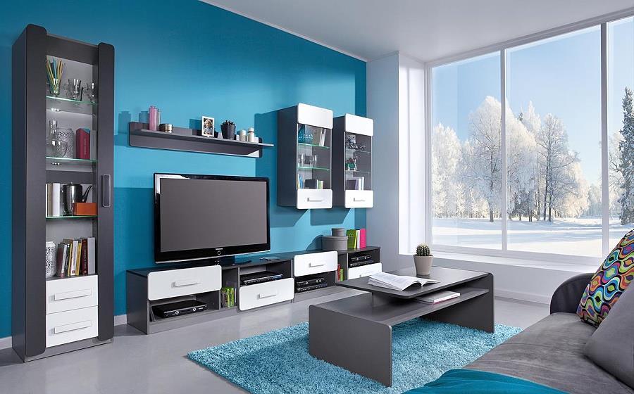 moderní obývací stěna, obývací pokoj  z dřevotřísky Lido 2 gib
