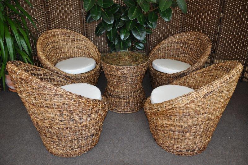 Jídelní ratanová sedací souprava Centre banánový list 4+1 axi