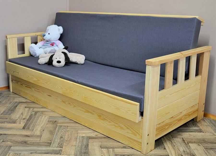 dřevěná moderní pohovka rozkládací, včetně matrace Wojtek chalup