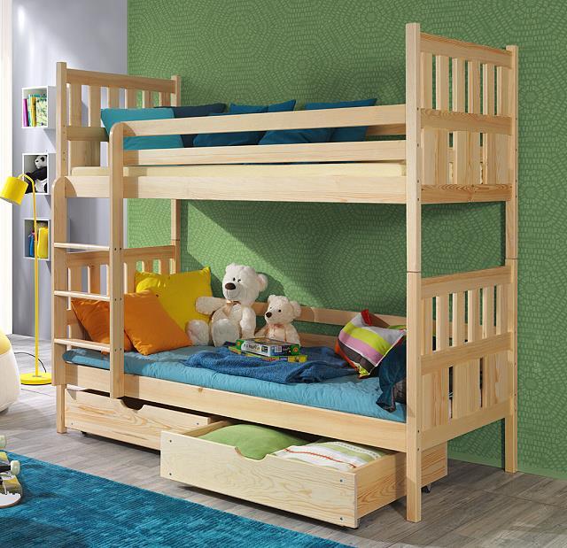 dřevěná patrová postel z masivního dřeva borovice Lena meblano