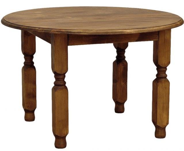 dřevěný rustikální kulatý stylový jídelní stůl z masivního dřeva borovice Mexicana MES03 frézované nohy euromeb
