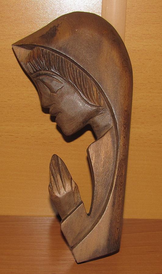 dřevěná dekorace, dřevořezba Panna Marie