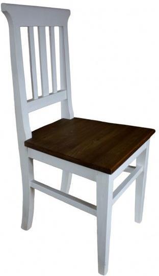 dřevěná rustikální stylová jídelní židle z masivního dřeva borovice Mexicana D22bíla/dub euromeb
