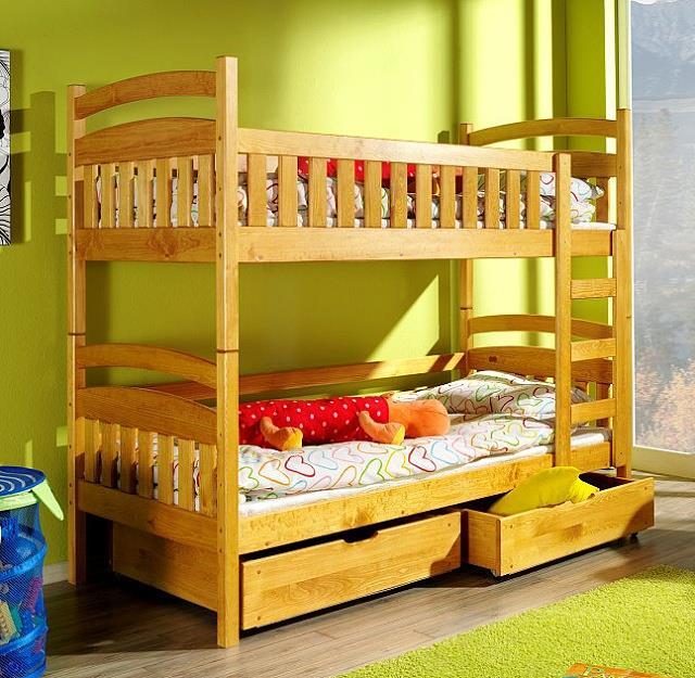 dřevěná patrová postel z masivního dřeva borovice Martus meblano
