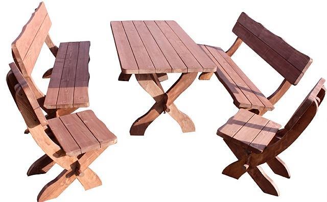 dřevěný zahradní nábytek set de Lux4 1S+2L+2K  euromeb 6