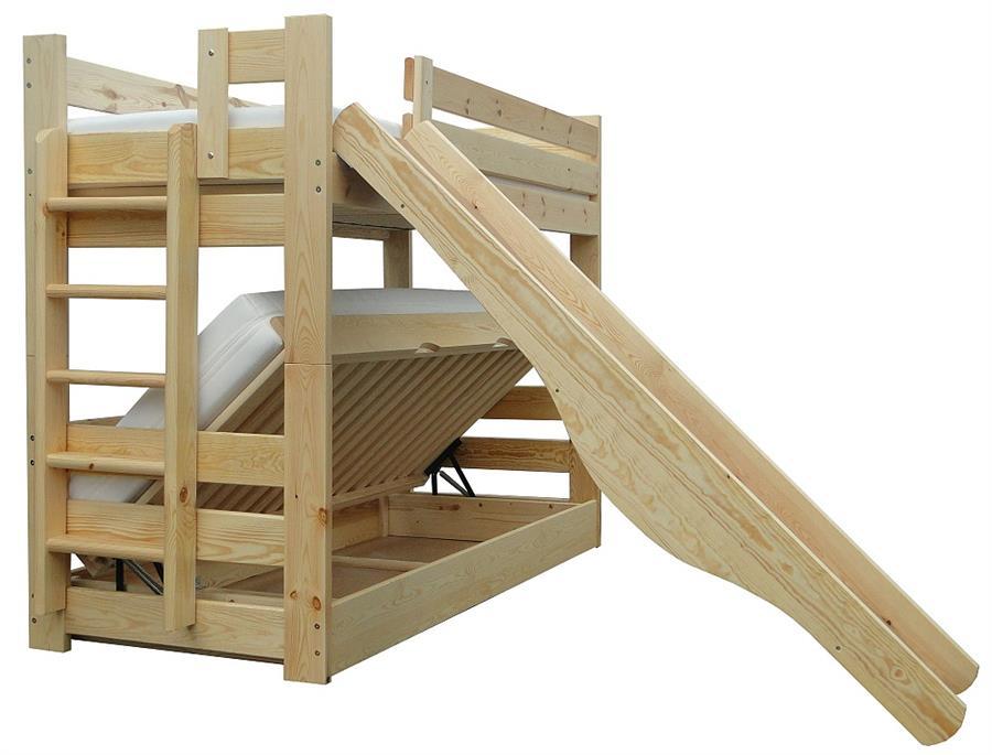 dřevěná patrová postel masivní se skluzavkou Frajda chalup