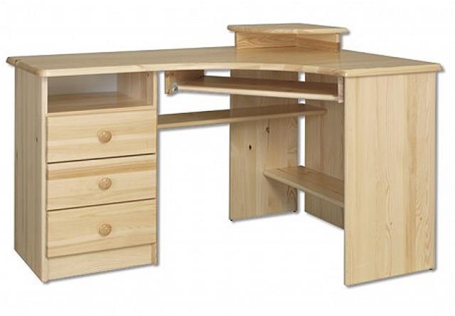 dřevěný rohový psací stůl, PC stolek z masivního dřeva BR108 pacyg