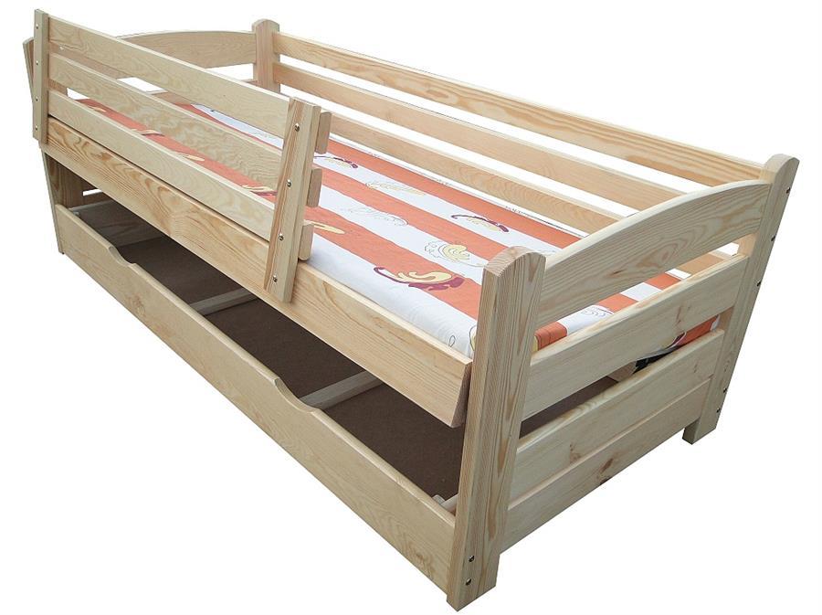 dřevěná jednolůžková postel s úložným prostorem Smyk chalup