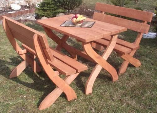 Mohutný chalupářský zahradní nábytek set mebog 1S+2L