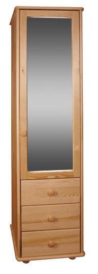 dřevěná šatní skříň jedno dvířková zrcadlová z masivního dřeva borovice drewfilip 18