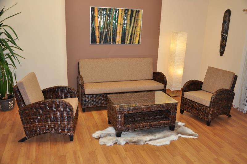 Ratanová sedací souprava Toscano ratan Croco stolek obdélník axi
