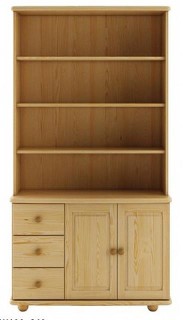 dřevěná vitrína, knihovna, z masivního dřeva borovice KW125 pacyg