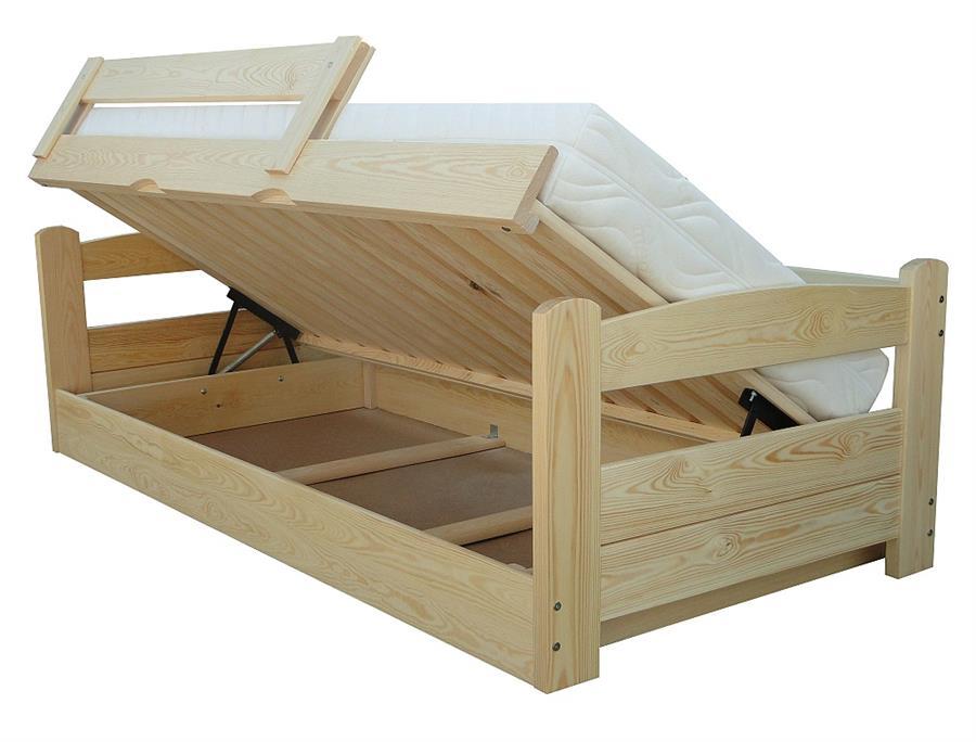 dřevěná dvojlůžková manželská postel s úložným prostorem Turbo chalup