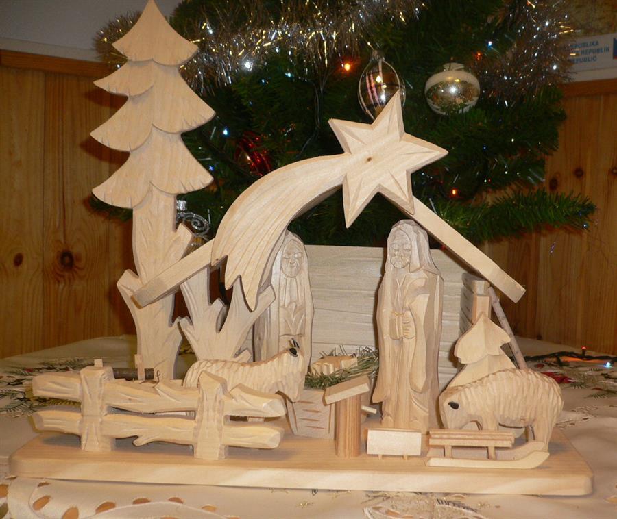 vánoční dřevěný betlem dřevořezba 701075