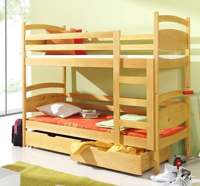 dřevěná patrová postel z masivního dřeva borovice Malgosia meblano