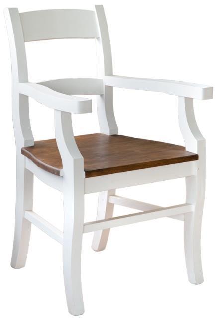dřevěná rustikální stylová jídelní židle z masivního dřeva borovice Mexicana D20bíla/med euromeb