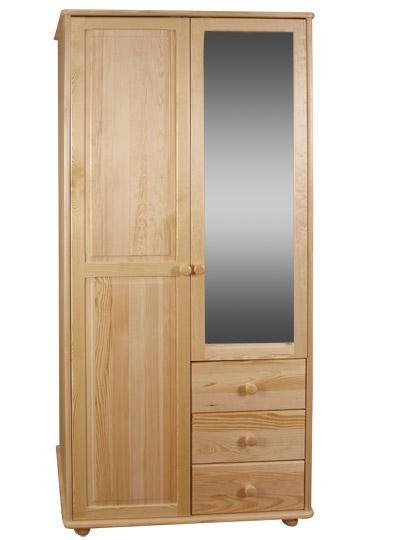 dřevěná šatní skříň dvojí dvířková zrcadlová z masivního dřeva borovice drewfilip 15