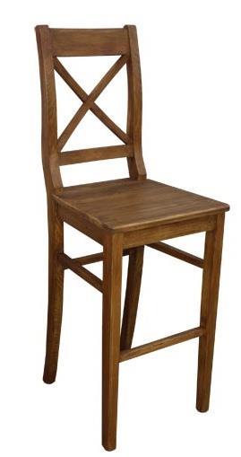 dřevěná rustikální stylová barová jídelní židle z masivního dřeva borovice Mexicana D25bar euromeb