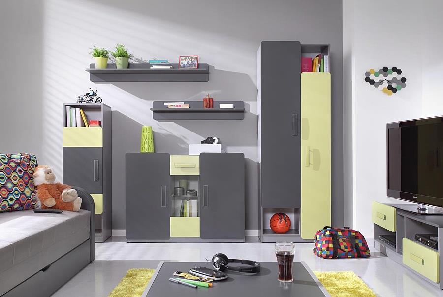 moderní obývací stěna, obývací pokoj  z dřevotřísky Lido 4 gib