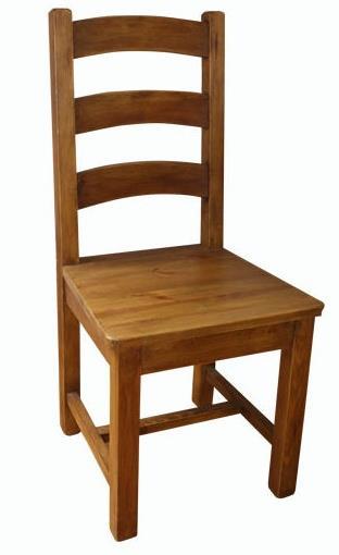 dřevěná rustikální stylová jídelní židle z masivního dřeva borovice Mexicana D24med/vosk euromeb