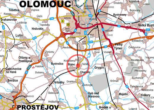 Orientační mapa obce Kožušany -Tážaly