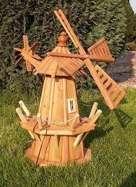 dřevěný zahradní  dekorační větrný mlýn s řetízkem 75