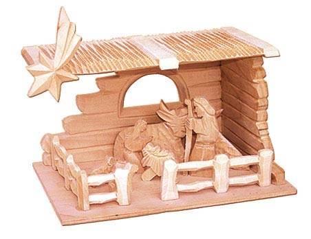 dřevěný vánoční betlém hranatý