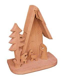 dřevěný vánoční betlém se stromkem malý