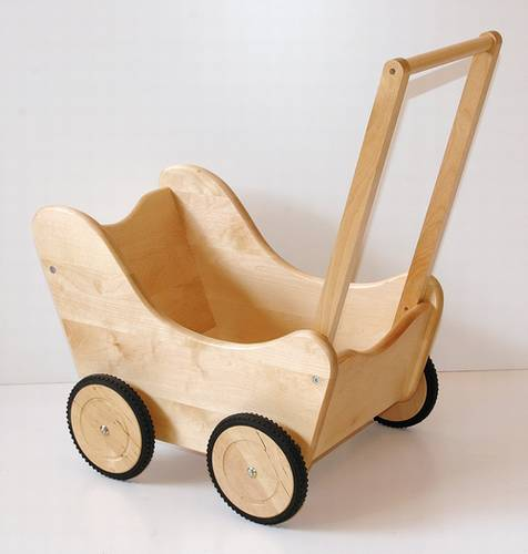 dřevěná dětská hračka kočárek pro panenky