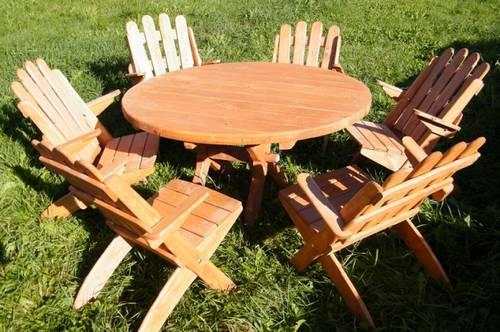 dřevěný zahradní nábytek set  Skládaný kulatý 1+6 drewbo